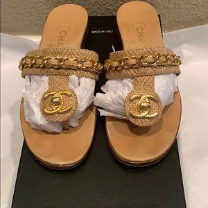 Chanel Limited CC Turnlock Motif Tweed Sandals